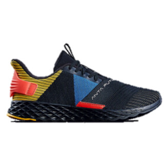 ANTA 安踏 跑步系列 11915551 男鞋 2019年新款男子跑鞋潮流拼接撞色轻便绑带男跑鞋 黑/姜黄/正蓝 9(男42.5)