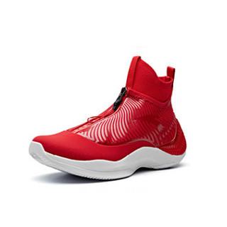 ANTA 安踏 篮球系列 11841303  皮面休闲运动鞋高帮战靴球鞋 大学红/安踏白 6.5(男39)