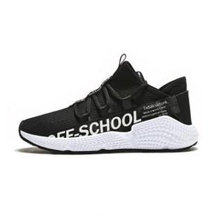 ERKE 鸿星尔克 女鞋字母撞色时尚潮流透气耐磨运动休闲鞋跑步鞋 52118320226 黑/白 39