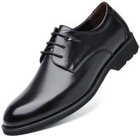 波图蕾斯皮鞋男英伦系带正装皮鞋男士商务休闲鞋男低帮圆头耐磨结婚鞋子 5119 黑色 38