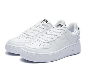 QIAODAN 乔丹 女鞋休闲女空军一号厚底板鞋运动小白鞋女 XM2690550 白色/黑色 36