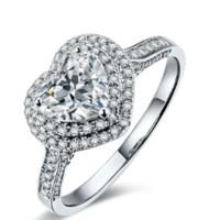 鸣钻国际 浪漫之心 钻戒女 共约1克拉钻石 白18k金群镶心形钻石戒指结婚求婚女戒 情侣对戒女款 H/SI 10号