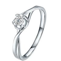 鸣钻国际 凝爱 白18k金钻戒女 30分钻石戒指结婚求婚女戒 情侣对戒女款 F-G/SI 10号