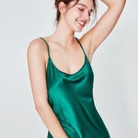 Miss Curiosity 好奇蜜斯 MC01SY151-GN 女士吊带丝质睡衣