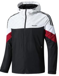 ERKE 鸿星尔克 11219115432 男子运动外套新品休闲舒适保暖防风运动上衣男 11219115432 正黑/正白 M