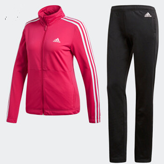 adidas 阿迪达斯 运动服套装女款春秋款长袖外套篮球服跑步休闲长裤羽毛球服 CY3518 粉黑 S码