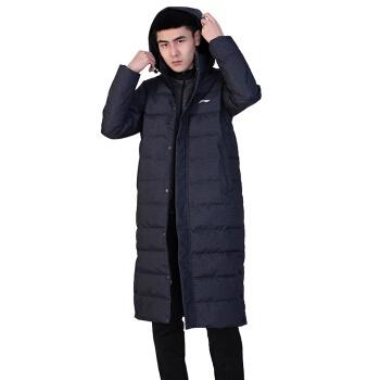 LI-NING 李宁 羽绒服男 长款 白鸭绒 轻薄连帽外套 AYMN079-2 标准黑 L码