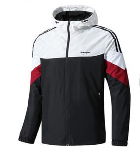 ERKE 鸿星尔克 男子运动外套新品休闲舒适保暖防风运动上衣男 11219115432 正黑/正白 4XL