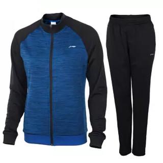 LI-NING 李宁 运动服套装开衫无帽卫衣男女同款跑步训练羽毛球外套长裤两件套 AWEN017-1 M码/170