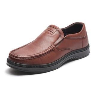 富贵鸟 Fuguiniao 休闲鞋男鞋头层牛皮时尚套脚生活休闲皮鞋 S893071  棕色 40