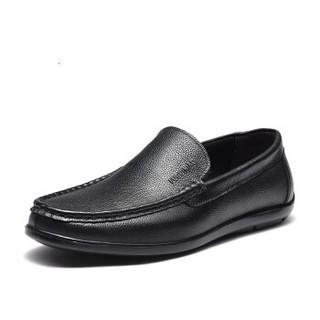 Fuguiniao 富贵鸟 套脚男鞋头层牛皮商务休闲日常百搭  S994993  黑色 38