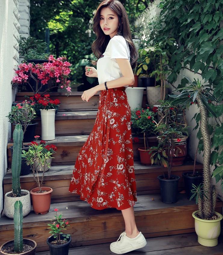 HSTYLE 韩都衣舍 EK8422 女士T恤+半裙清新两件套