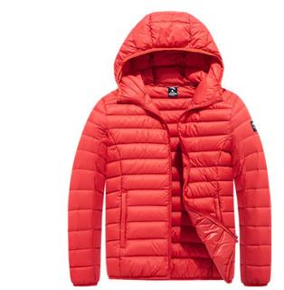 ANTA 安踏 95848919-3  羽绒服男装冬季新款短款连帽运动防风保暖轻薄羽绒服外套 A13865东方红 3XL(男190)
