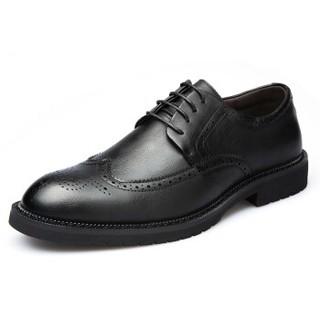 Mexican 稻草人 商务休闲皮鞋男士布洛克镂空正装英伦潮流百搭 AZ1897 黑色 43