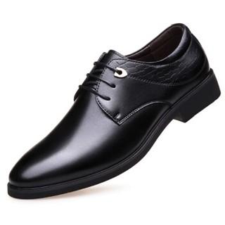 Mexican 稻草人 商务休闲皮鞋男子士英伦轻质单增高正装低帮耐磨 DX8777 黑色 43