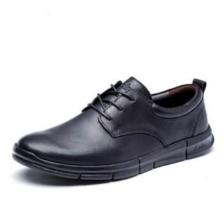 cele 策乐 商务休闲鞋男士头层牛皮系带防滑舒适时尚百搭 黑色 42码 M8C1S16102