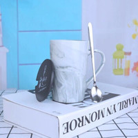 Hoatai Ceramic 华达泰陶瓷 简约马克杯 带盖带勺 400ml 大理石纹B款