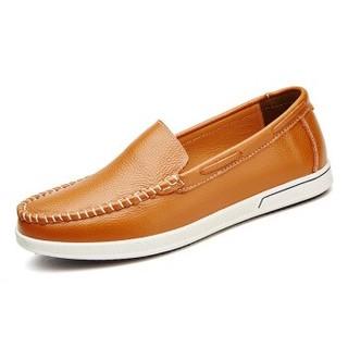 cele 策乐 男士商务休闲皮鞋头层牛皮套脚软底手工缝线时尚休闲 黄棕色 39码 M9A1B29901
