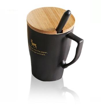乐享 陶瓷马克杯 400ml 黑色