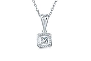 ZLF 周六福 KGDB043933 18K金钻石吊坠 13分 无色钻石