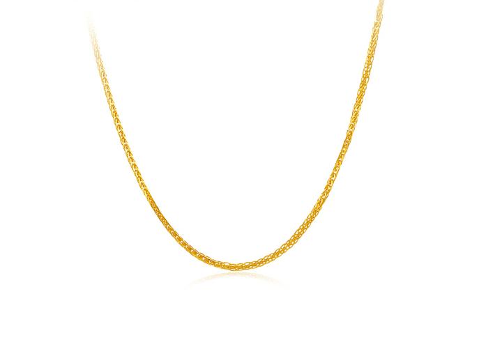 周六福 珠宝女款黄18K金项链时尚肖邦链锁骨链 KH050484 45cm *3件
