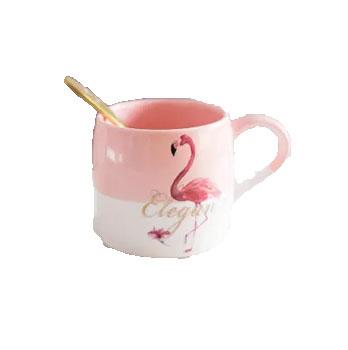 乐享 陶瓷马克杯 401-500ml 火烈鸟