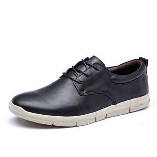 cele 策乐 商务休闲鞋 头层牛皮超轻绑带低帮男士  黑色 43码 M8C1S16101