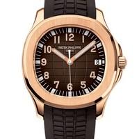 Patek Philippe 百达翡丽 AQUANAUT系列 5167R-001 日期显示棕色表带玫瑰金腕表