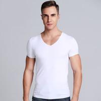 SANTA BARBARA POLO 圣大保罗 春夏男士V领Aircool无痕修身T恤 白色 XL PU-3016 (白色、XL、再生纤维)