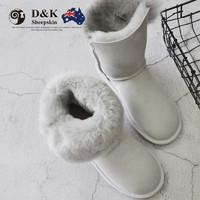 DK Sheepskin DK025秋冬新款羊皮毛一体雪地靴女中筒保暖女靴防滑加厚棉鞋中长款靴子