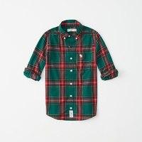 Abercrombie Kids 男童 弹力长袖府绸衬衫 229226 AF