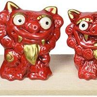 狮子 陶器 濑户烧 红色 -