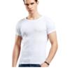 Bopie 宝派 男士背心纯棉T恤短袖运动弹力修身打底汗衫6600 白色圆领 XL(175/100)