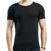 Bopie 宝派 男士背心莫代尔T恤短袖男纯色弹力棉打底修身透气汗衫 6823 黑色圆领 XL(175/100)