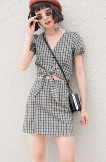CICISHOP 110106  女a字套装裙短款裙套装