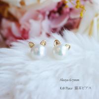 Pearlyuumi Akoya海水珍珠 18K金猫耳朵耳钉 6-7mm