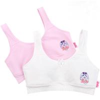 Barbie 芭比 2件装学生内衣小背心纯棉少女文胸发育期棉质面料 ABY3002 白色/粉色 80A
