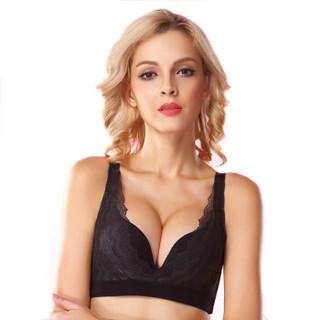 COSMO LADY 都市丽人 文胸无钢圈聚拢舒适调整型蕾丝胸罩内衣 3B6504 黑色 34/75A