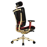 联友旗下品牌 保友老板椅鳄鱼真皮 镶3克拉钻石 9条黄金龙 九五之尊人体工学椅 红色