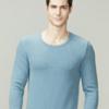 TINSINO 纤丝鸟 保暖内衣男士重磅彩棉圆领弹力中厚透气吸汗秋衣套装 保暖内衣 麻蓝色 L(175/100)