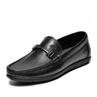 J.Benato 宾度 男士透气休闲软底套脚头层牛皮爸爸鞋 7N381 黑色 44