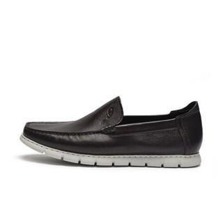 J.Benato 宾度 男士商务休闲简约头层牛皮英伦舒适套脚鞋 8Y221 棕色 42