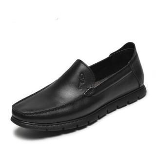 J.Benato 宾度 男士商务休闲简约头层牛皮英伦舒适套脚鞋 8Y221 黑色 42