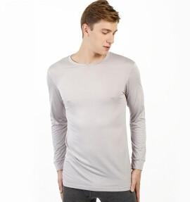 京东京造 男士薄款圆领长袖内衣 发热纤维身T恤 浅灰色 M码