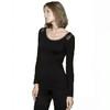 Agentmuse 保暖内衣女士家居服天然竹纤维面料性感美背蕾丝薄款保暖套装打底 A18BR01191T 黑色 XL