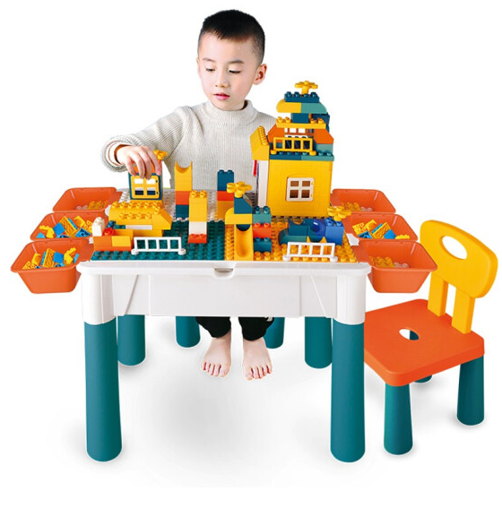 DODOELEPHANT 豆豆象 积木桌椅 37cm积木桌+椅子+128颗粒轨道积木