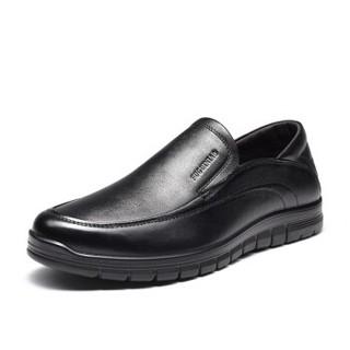 Fuguiniao 富贵鸟 男士头层牛皮鞋商务休闲时尚舒适套脚 S903506 黑色 42