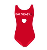 BALNEAIRE 范德安 保守遮肚温泉泳衣女 学生运动连体游泳衣 (红色、M)