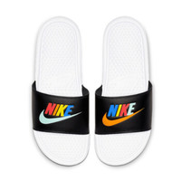 耐克NIKE 男子 拖鞋 BENASSI JDI MISMATCH GEL炫彩字母Logo透气沙滩运动休闲拖鞋 CJ4608-071黑色45码