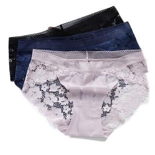 YUZHAOLIN 俞兆林 女士内裤蕾丝印花无痕性感镂空冰丝内裤女 秘黑+豆沙+尊蓝 大码